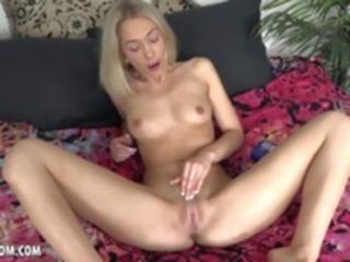 orgasm Kinky blonde Sky Pierce massages herself with lotion solo