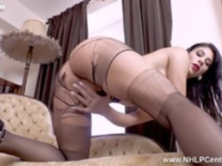 ass Hot Babe Roxy Mendez has kinky pantyhose fun wanks with toy big tits