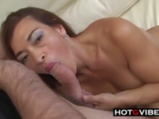latina Busty Latin woman is gently sucking a hard cock and getting it inside her, from the back hd