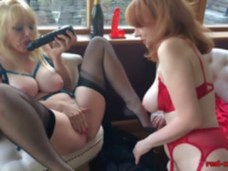 mature Red XXX and her sexy girlfriend play with sex toys lesbian