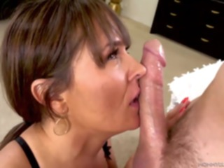 cumshot Elexis Monroe is wearing erotic, black lingerie while kneeling on the floor and sucking dick brunette