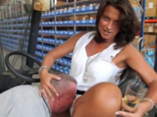 foot fetish Mature boss giving him her feet to suck fetish