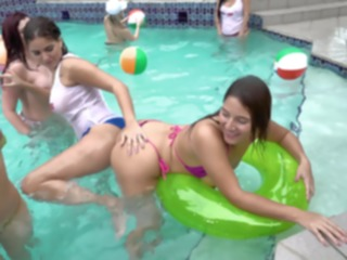 hd Lesbian teens having a climax at the pool brunette